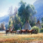 Back from the River - Indian warrior bringing horses back to camp by Martin Grelle