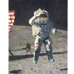 John Young Leaps into History - Apollo 16 on the moon by astronaut artist Alan Bean