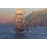 "Sunrise in the Golden Gate, Down Easter ""Benjamin F. Packard"" by Christopher Blossom"