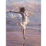 Boundless - woman dancing on beach by figure artist Steve Hanks