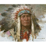 Leader of the Tribe - portrait of Indian chief by artist Z.S. Liang
