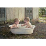 Baby Bath - two toddlers in bathtub by artist Steve Hanks