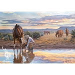 Reflections of a Passing Day - chores 'bout done by cowboy artist Tim Cox
