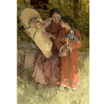Beneath the Cottonwoods - Indian mother with children by artist Z. S. Liang