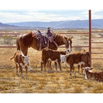 Reluctant Company - working horse and calves by artist Tim Cox