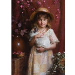 Alice - young girl holding her pet white rabbit by artist Morgan Weistling