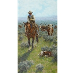 Making His Rounds - cowboy checking his herd by artist Jim Rey