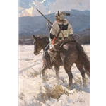 Camp Sentry - Piegan war chief in winter's cold by artist Z.S. Liang