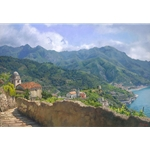 Amalfi Coast - overlooking Mediterranean town of Ravello by June Carey
