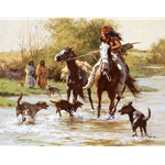 Yapping Dogs - Indian warrior is welcomed home, painting by Howard Terpning