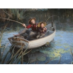 The Fishing Hole - boys in dory on summer day by nostalgia artist Morgan Weistling