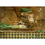 Man Taking a Leek on a Tiled Wall for a Walk by James Christensen