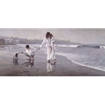 Holding the Family Together - family on the beach by artist Steve Hanks