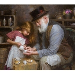 Papa's Tea - little girl with grandfather by Morgan Weistling