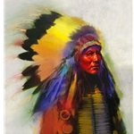 Turning Bear - Indian Chief by artist R. Tom Gilleon