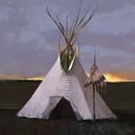Headdress Lodge - tipi at sundown by R. Tom Gilleon