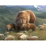 ~ Mountain Mama - grizzly bear with cubs by artist Bonnie Marris