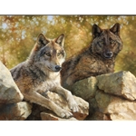 ~ Rocky Lookout - wolf pair by wildife artist Bonnie Marris