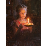 Glow  - frontier child with candle by pioneer artist Morgan Weistling