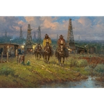 ~ Texas Heritage - cowhands riding through oil field by G. Harvey