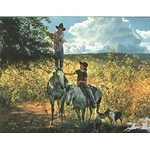 Picking Green Apples by western cowboy artist Tim Cox