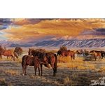 Quiet Time - herd of horses in evening light by western artist Tim Cox