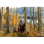 Leaves of Gold - cowboy riding through autumn woods by Tim Cox