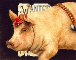Billy the Pig - Wanted outlaw swine by humor artist Will Bullas