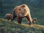 Her Power and Her Glory - Grizzly and cubs by wildlife artist Bonnie Marris