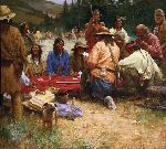 A Friendly Game at Rendezvous 1832 by Howard Terpning