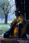 More Than Friends - cowboy and his dog by western artist Martin Grelle