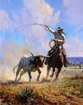 Ropin' a Wild One - Cowboy roping a steer by western artist Martin Grelle