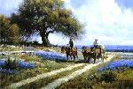 Sweet Smell of Spring - Wagon and Bluebonnets by western artist Martin Grelle