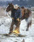 Another Day in Paradise - Cowboy and his Horse by western artist Bruce Greene