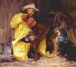 Beethoven's Fifth? - Cowboy and his dog by western artist Bruce Greene