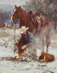 Early Arrival - Cowboy with newborn calf by western artist Bruce Greene