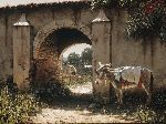 Los Amigos - Donkey waiting by stone archway by artist George Hallmark