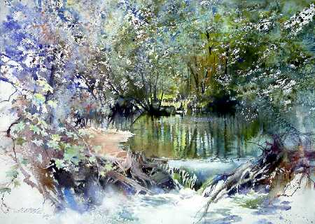 Autos By Nelson >> Feeder Stream by watercolor artist Nita Engle
