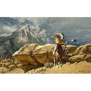 From the Rim - Sioux warrior scout by western artist Frank McCarthy