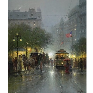Evening on Broadway (New York City) by G. Harvey