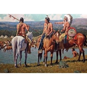 Tribal Wealth - Plains Indians look over their camp by artist David Mann