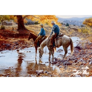 Heart and Home - couple on horseback by western artist Tim Cox
