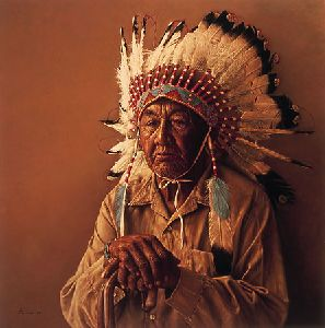 Old Arapaho Story-Teller by James Bama