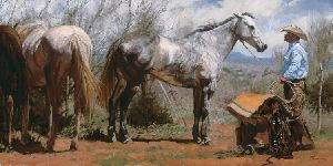 Sweet Nothins' - Cowboy and his Horse by western artist Bruce Greene